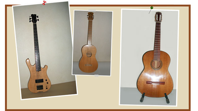 Exemples de trois premières fabrications de guitares par Jean Philippe Bonnefond