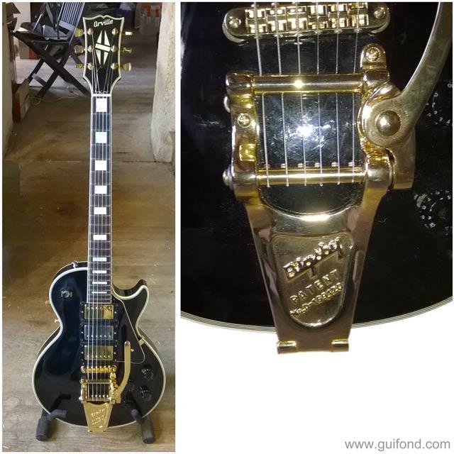 Une guitare Les Paul équipée d'un Bigsby