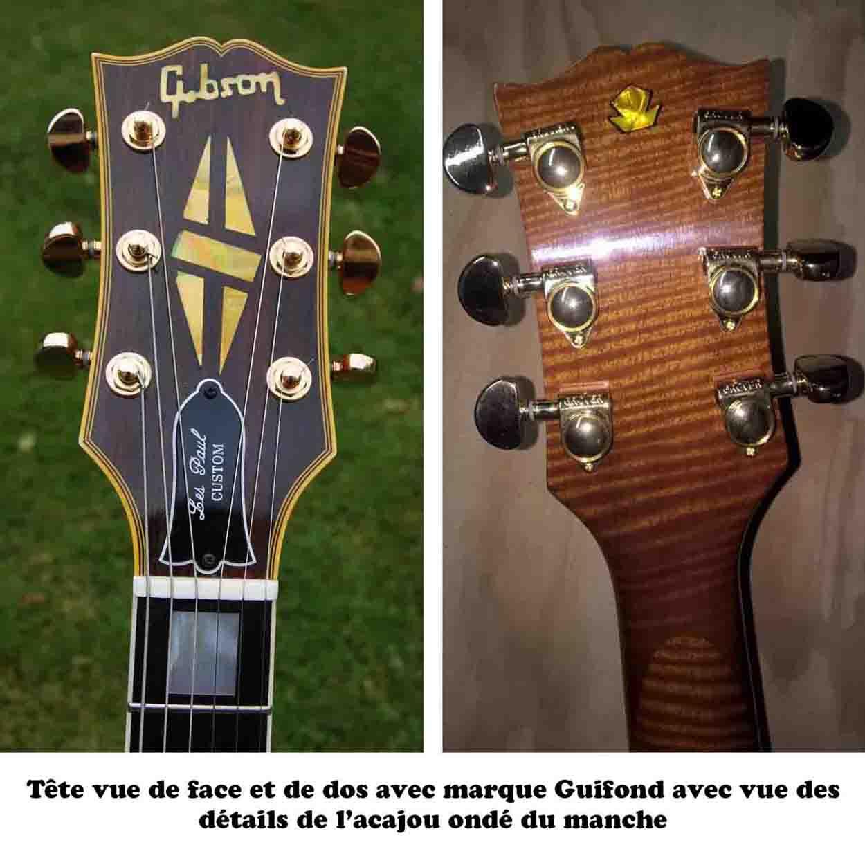 Photos de la tête vue de devant et de derrière de la guitare GB son