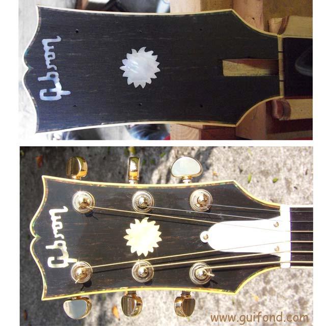 Détails de la tête de la guitare