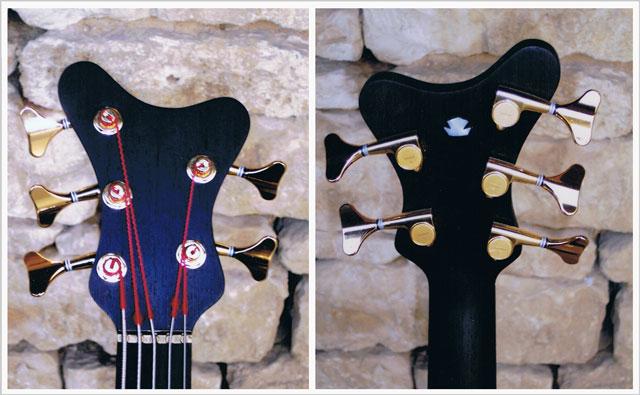 Sillet en laiton et tête de la guitare basse